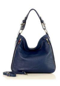Torebka damska granatowa MARCO MAZZINI s228f. Kolor: niebieski. Wzór: aplikacja. Materiał: skórzane. Styl: casual. Rodzaj torebki: na ramię