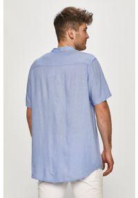 Brave Soul - Koszula. Okazja: na co dzień. Typ kołnierza: kołnierzyk stójkowy. Kolor: niebieski. Długość rękawa: krótki rękaw. Długość: krótkie. Styl: casual