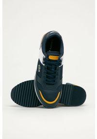 Niebieskie sneakersy Lacoste z cholewką, na sznurówki