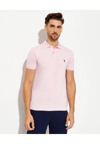 Ralph Lauren - RALPH LAUREN - Różowa koszulka polo Mesh Slim Fit Stretch. Typ kołnierza: polo. Kolor: różowy, wielokolorowy, fioletowy. Materiał: mesh. Wzór: haft