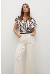mango - Mango - Koszula IBIZA. Kolor: biały. Materiał: włókno, tkanina. Długość rękawa: krótki rękaw. Długość: krótkie