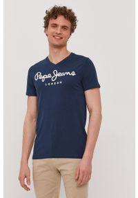Pepe Jeans - T-shirt Original. Okazja: na co dzień. Kolor: niebieski. Wzór: nadruk. Styl: casual