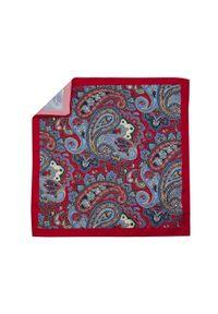 Adam Collection - Czerwona poszetka w paisley E221. Kolor: czerwony. Wzór: paisley