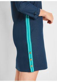 Sukienka dresowa w optyce dżinsowej, rękawy 3/4 bonprix niebieski. Kolor: niebieski. Materiał: dresówka