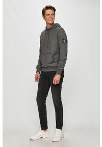 Szara bluza nierozpinana Calvin Klein Jeans na co dzień, casualowa, z kapturem
