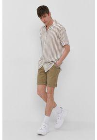Only & Sons - Koszula. Typ kołnierza: kołnierzyk klasyczny. Kolor: beżowy. Materiał: tkanina. Długość rękawa: krótki rękaw. Długość: krótkie. Styl: klasyczny