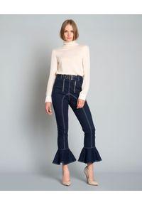 SELF PORTRAIT - Granatowe spodnie Frilled Canvas. Stan: podwyższony. Kolor: niebieski. Styl: klasyczny, elegancki