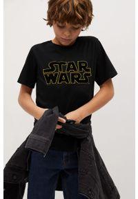 Czarny t-shirt Mango Kids casualowy, z aplikacjami, na co dzień
