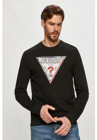 Czarna bluza nierozpinana Guess na co dzień, z aplikacjami, casualowa