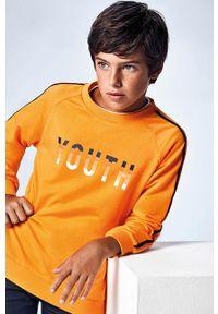Pomarańczowa bluza Mayoral casualowa, z nadrukiem, na co dzień, raglanowy rękaw