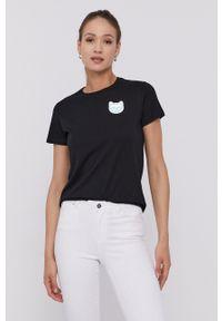 Karl Lagerfeld - T-shirt. Okazja: na co dzień. Kolor: czarny. Materiał: dzianina. Wzór: aplikacja. Styl: casual