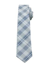 Alties - Szary Stylowy Krawat (Śledź) w Kratkę -ALTIES- 5 cm, Wąski, Męski. Kolor: szary. Materiał: tkanina. Wzór: kratka. Styl: elegancki