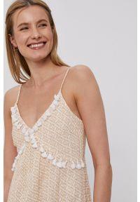 Y.A.S - Sukienka. Kolor: beżowy. Materiał: bawełna, tkanina. Długość rękawa: na ramiączkach