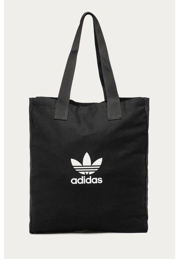 Czarna shopperka adidas Originals duża, na ramię, z nadrukiem