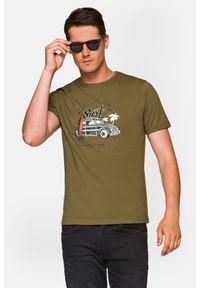Lancerto - Koszulka Khaki Arlo. Okazja: na co dzień. Kolor: brązowy. Materiał: włókno, materiał, bawełna. Wzór: aplikacja, nadruk. Styl: klasyczny, casual