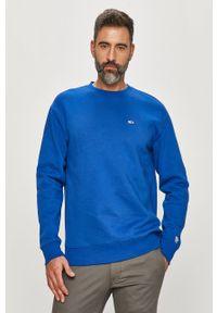 Niebieska bluza nierozpinana Tommy Jeans na co dzień, casualowa, bez kaptura