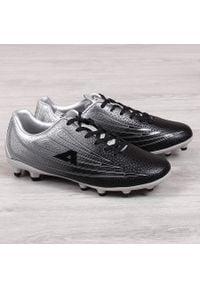 Korki piłkarskie męskie czarno srebrne American Club. Kolor: srebrny, wielokolorowy, czarny. Materiał: skóra ekologiczna. Sport: piłka nożna