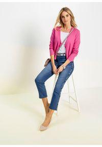 Sweter rozpinany bonprix różowy. Kolor: różowy