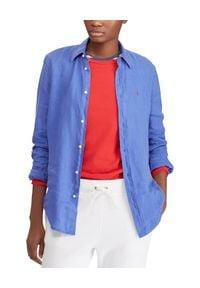 Ralph Lauren - RALPH LAUREN - Koszula z lnu Relaxed Fit. Typ kołnierza: polo. Kolor: niebieski. Materiał: len. Długość rękawa: długi rękaw. Długość: długie. Wzór: haft. Styl: klasyczny