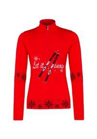 Czerwony sweter Newland z golfem, klasyczny, raglanowy rękaw