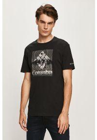 Czarny t-shirt columbia na co dzień, casualowy, z nadrukiem