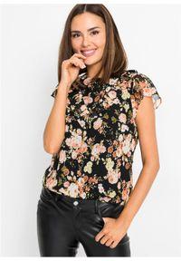 Bluzka shirtowa bonprix czarno-jasnoróżowy łososiowy w kwiaty. Kolor: czarny. Wzór: kwiaty