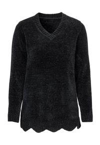 Czarny sweter Cellbes z długim rękawem, długi, z dekoltem w serek