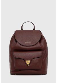 Coccinelle - Plecak skórzany Beat Soft. Kolor: czerwony. Materiał: skóra