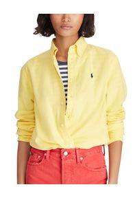 Żółta koszula Ralph Lauren w kolorowe wzory, z długim rękawem, polo, długa