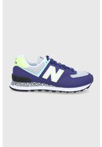 Fioletowe sneakersy na obcasie, na sznurówki, New Balance 574, z okrągłym noskiem