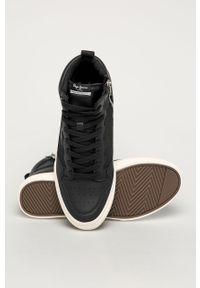 Czarne sneakersy Pepe Jeans na sznurówki, z cholewką