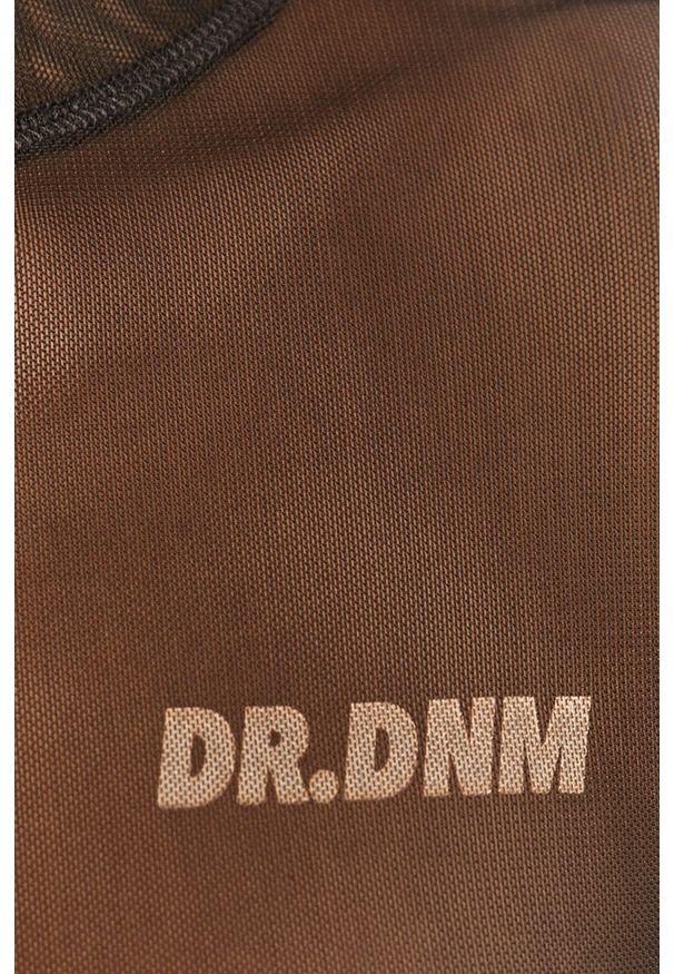Szara bluzka z długim rękawem Dr. Denim na co dzień, z okrągłym kołnierzem, casualowa