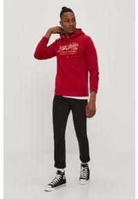 Czerwona bluza nierozpinana Premium by Jack&Jones casualowa, na co dzień, z nadrukiem