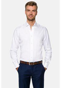 Lancerto - Koszula biała Ingrid 3. Kolor: biały. Materiał: bawełna, jedwab, tkanina, wełna. Wzór: gładki. Styl: wizytowy
