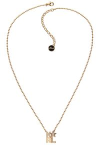 Złoty naszyjnik Karl Lagerfeld metalowy, z aplikacjami, z kryształem