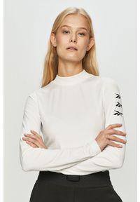 Biała bluzka z długim rękawem Reebok na co dzień, sportowa, z nadrukiem