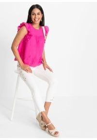 """Bluzka z ażurowym haftem bonprix różowy """"pinklady"""". Kolor: różowy. Wzór: haft, ażurowy"""