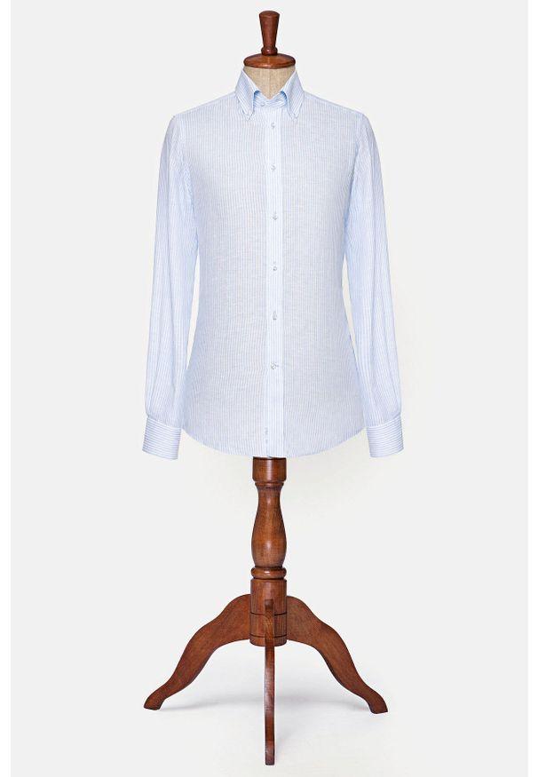 Lancerto - Koszula Błękitna w Prążek Michigan. Typ kołnierza: button down. Kolor: niebieski. Materiał: tkanina, len. Wzór: prążki. Styl: klasyczny, vintage