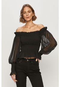 Czarna bluzka AllSaints na co dzień, casualowa, bez rękawów, z dekoltem typu hiszpanka