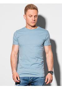 Ombre Clothing - T-shirt męski bawełniany basic S1370 - błękitny - XXL. Kolor: niebieski. Materiał: bawełna. Styl: klasyczny