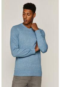 Niebieski sweter medicine z okrągłym kołnierzem, casualowy, na co dzień
