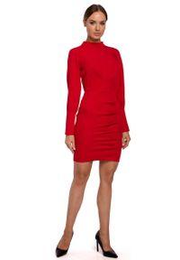 Czerwona sukienka wizytowa MOE ze stójką, ołówkowa