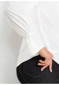 Bluzka szyfonowa z koronką bonprix biały. Kolor: biały. Materiał: szyfon, koronka. Wzór: koronka. Styl: elegancki