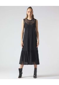 Manila Grace - MANILA GRACE - Czarna sukienka midi z tiulu. Typ kołnierza: kokarda. Kolor: czarny. Materiał: tiul. Wzór: aplikacja. Typ sukienki: rozkloszowane. Długość: midi