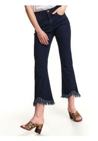 TOP SECRET - Spodnie jeansowe damskie rozszerzane 7/8. Okazja: na co dzień. Stan: podwyższony. Kolor: niebieski. Materiał: jeans. Sezon: wiosna. Styl: casual