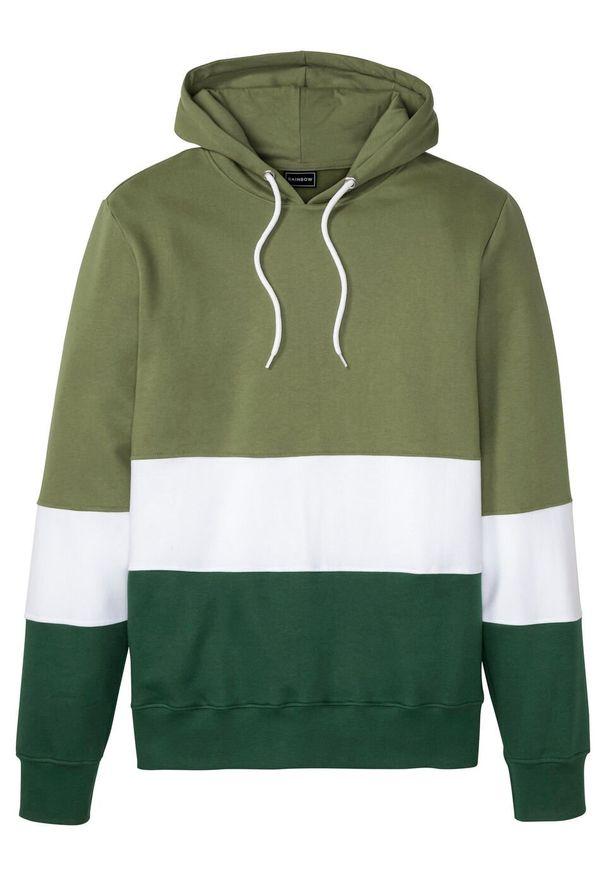 Bluza z kapturem bonprix zielony lodenowy - biały - ciemnozielony w paski. Typ kołnierza: kaptur. Kolor: zielony. Wzór: paski