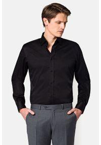 Lancerto - Koszula Czarna Blackburn. Okazja: na co dzień. Kolor: czarny. Materiał: tkanina, bawełna, jeans. Styl: elegancki, casual