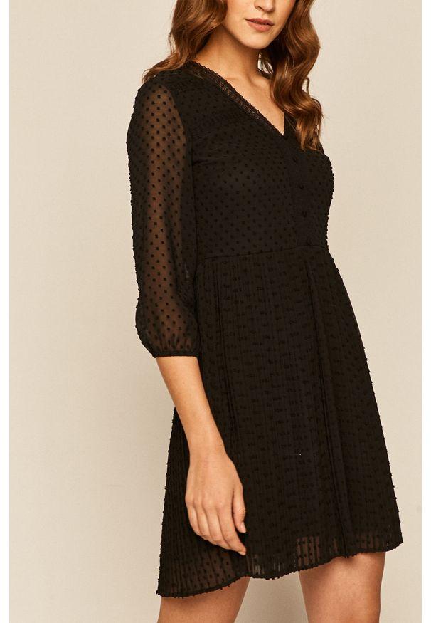 Czarna sukienka medicine mini, plisowana