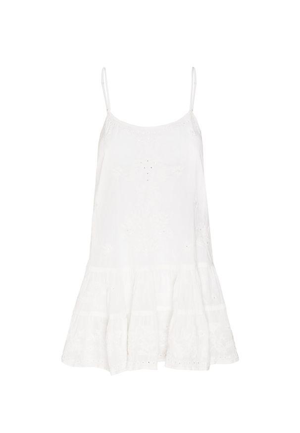 Biała sukienka Juliet Dunn z falbankami, na ramiączkach, w kwiaty
