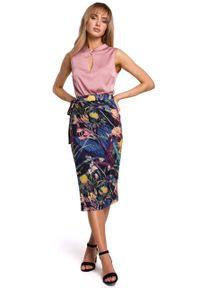 e-margeritka - Spódnica dzianinowa midi na zakładkę - l. Stan: podwyższony. Materiał: dzianina